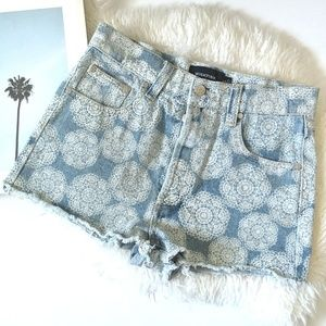 MINKPINK Denim Print High Rise Cutoffs Shorts Boho